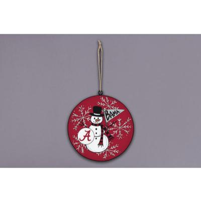 Alabama Magnolia Lane Snowman Metal Ornament