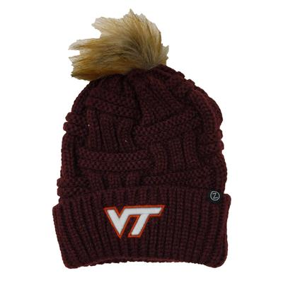 Virginia Tech Women's Faux Fur Pom Knit Hat