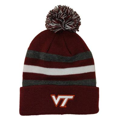 Virginia Tech Youth Halftime Striped Pom Knit Hat