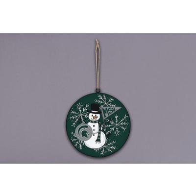 Michigan State Magnolia Lane Snowman Metal Ornament