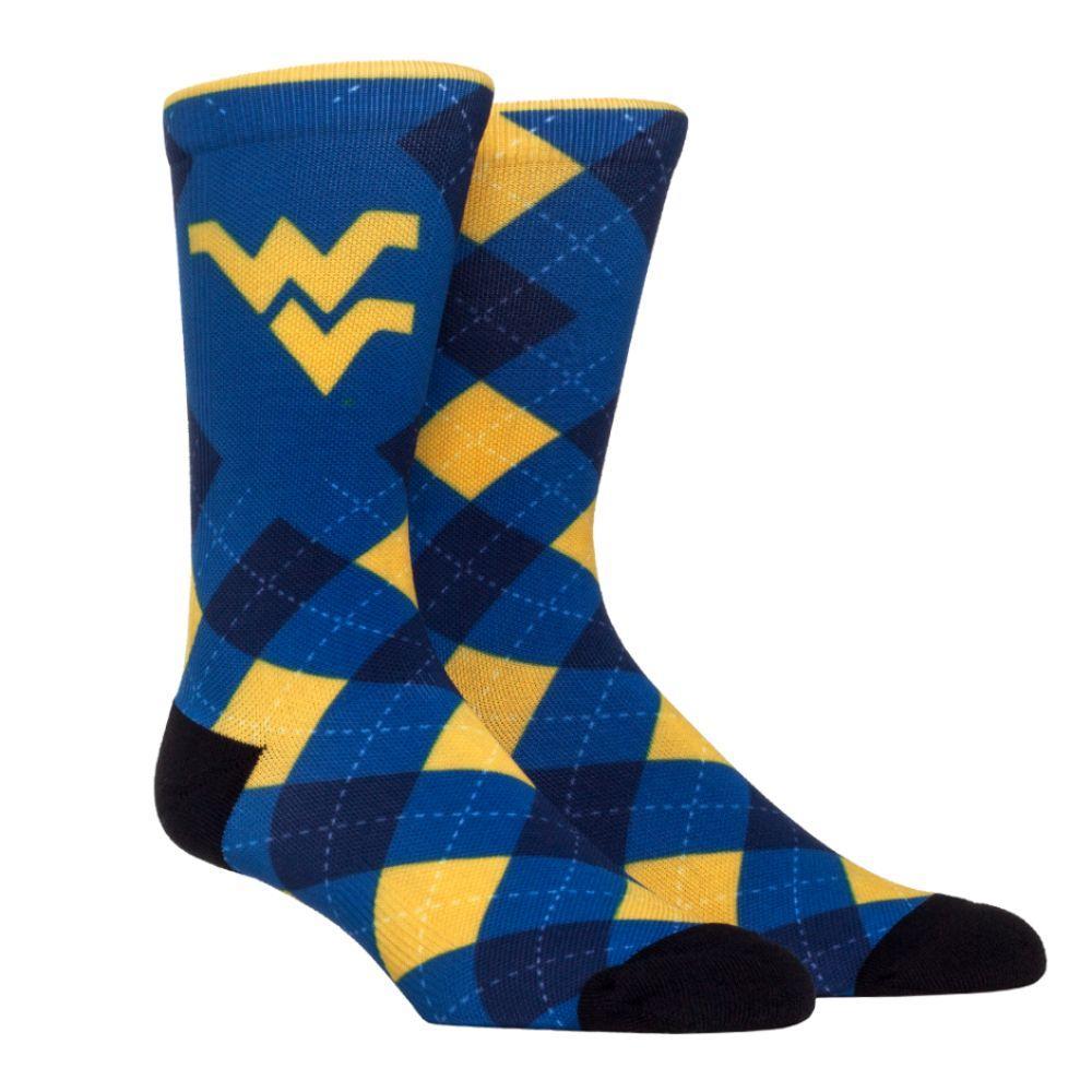 West Virginia Rock ' Em Hyperoptic Argyle Socks