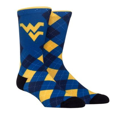West Virginia Rock'em Hyperoptic Argyle Socks