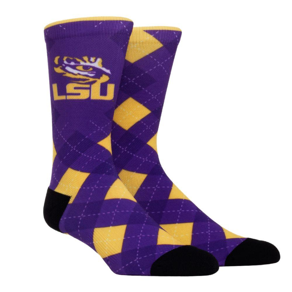 Lsu Rock ' Em Hyperoptic Argyle Socks