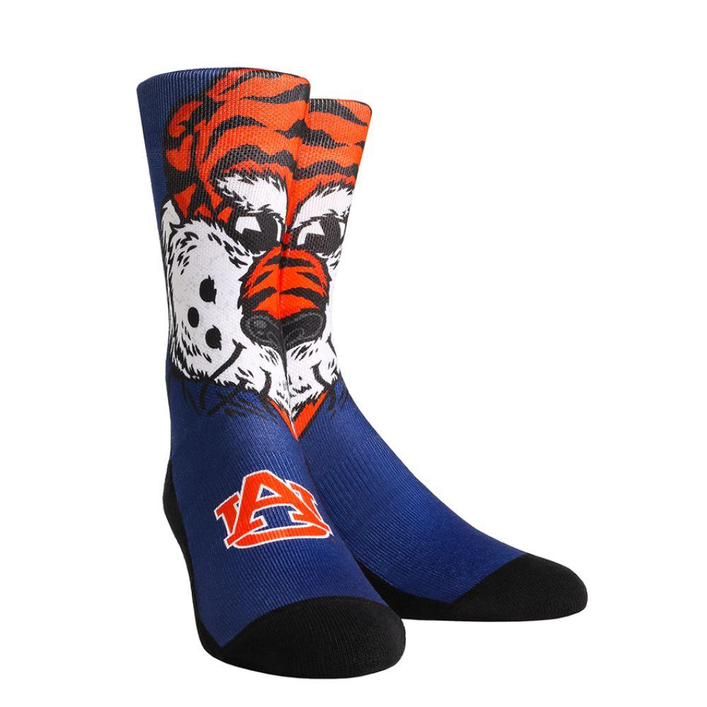 Auburn Rock ' Em Split Face Mascot Socks