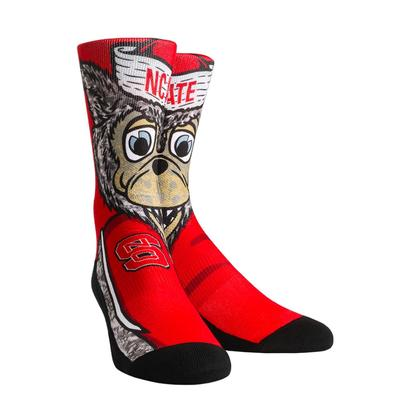 NC State Rock'em Split Face Mascot Socks