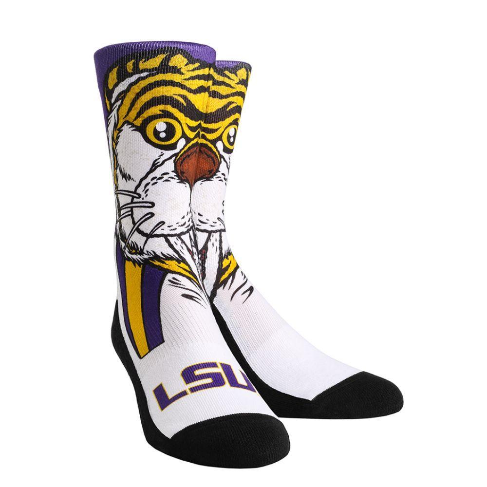 Lsu Rock ' Em Split Face Mascot Socks
