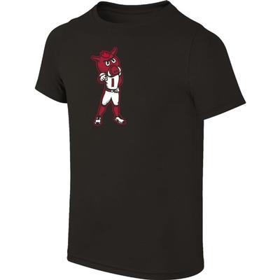 Arkansas Youth Standing Mascot Tee Shirt BLACK