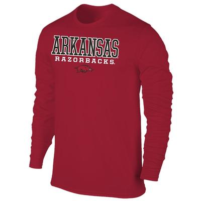 Arkansas Men's Razorbacks with Running Hog L/S Tee Shirt