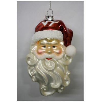 Virginia Tech Santa Glass Christmas Ornament
