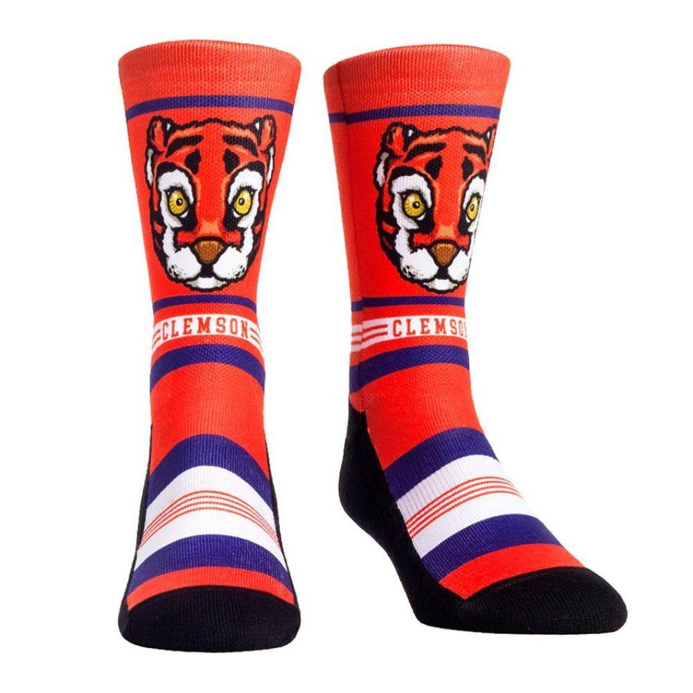 Clemson Rock ' Em Mascot Single Face Socks