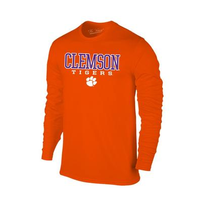 Clemson Men's Tigers with Paw Logo L/S Tee Shirt ORANGE