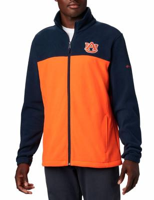 Auburn Columbia Men's Flanker III Fleece Jacket NAVY/ORANGE