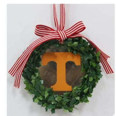Tennessee Seasons Design Wreath Logo Tin Ornament