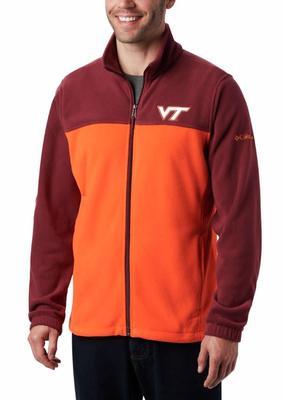 Virginia Tech Columbia Men's Flanker III Fleece Jacket - Big Sizing MAROON/ORANGE