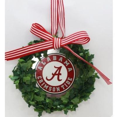 Alabama Seasons Design Wreath Logo Tin Ornament