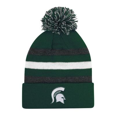 Michigan State Halftime Kids' Striped Pom Cuff Knit Hat
