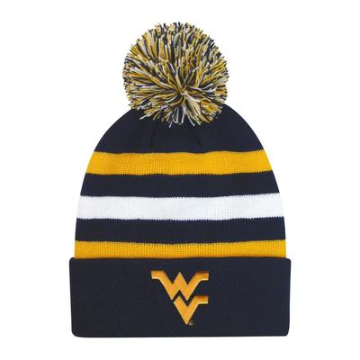 West Virginia Halftime Kids' Striped Pom Cuff Knit Hat