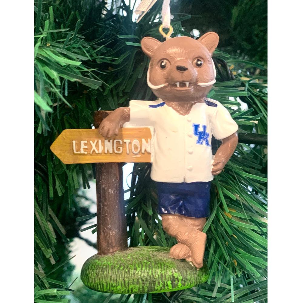 Kentucky Seasons Design Mascot W/Sign Ornament