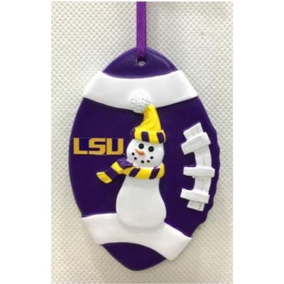 LSU Seasons Design Football Snowman Ornament