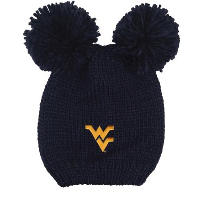 West Virginia LogoFit Kids' Double Pom Knit Hat