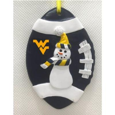 West Virginia Seasons Design Football Snowman Ornament