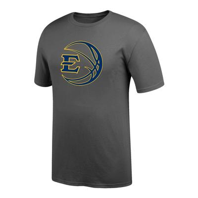 ETSU Logo in Basketball Tee Shirt GRAPHITE