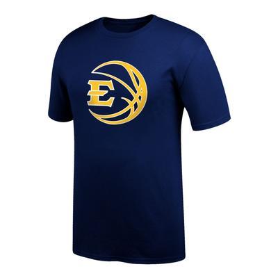 ETSU Logo in Basketball Tee Shirt NAVY