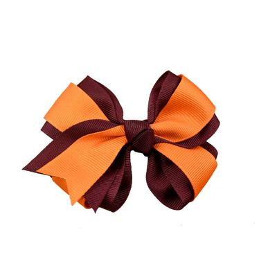 Maroon & Orange 2 Tone Fluff Bow