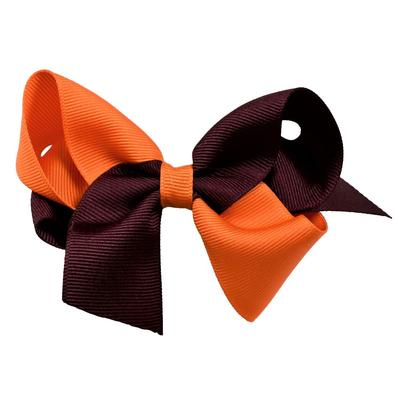 Maroon & Orange Classic 2 Tone Fluff Bow