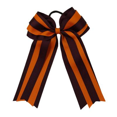 Maroon & Orange Layered 2 Tone Ponytail Bow