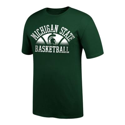 Michigan State Arch Logo with Fading Basketball Tee Shirt