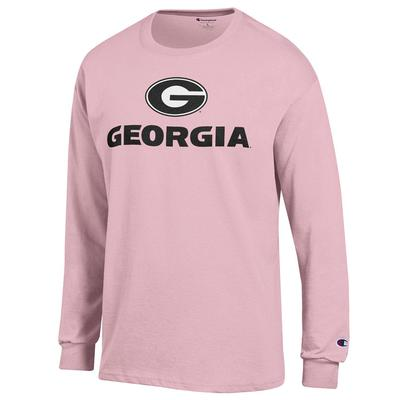 Georgia Circle G Lockup Pink Long Sleeve Tee