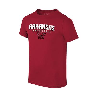Arkansas Youth Basketball with Net Tee Shirt CARDINAL
