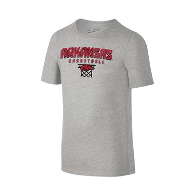 Arkansas Youth Basketball with Net Tee Shirt GREY