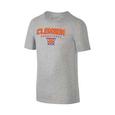 Clemson Youth Basketball with Net Tee Shirt GREY