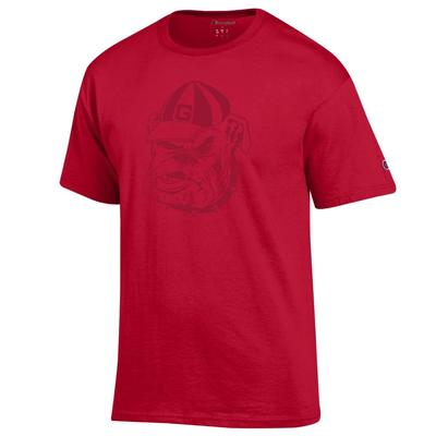 Georgia Tonal Bulldog Face Tee Shirt RED