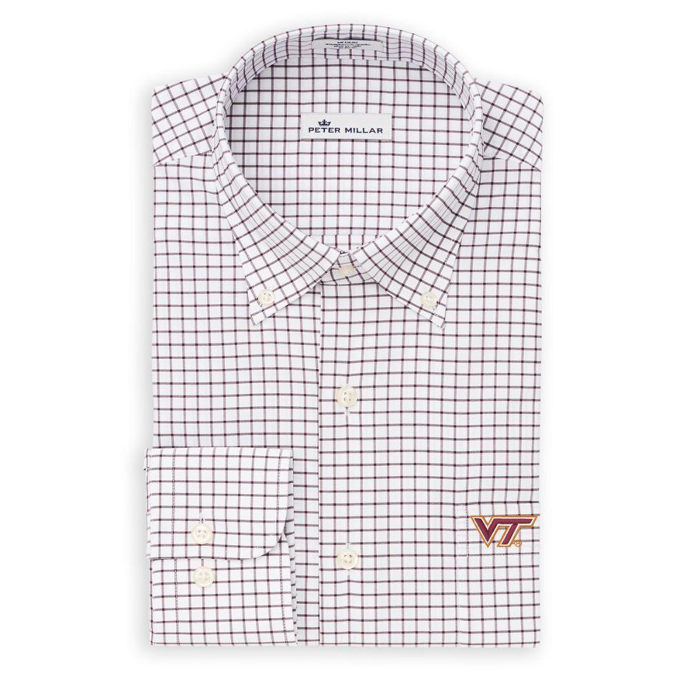 Virginia Tech Peter Millar Men's Woven Tattersall Shirt