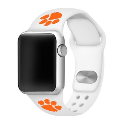 Clemson Apple Watch White Silicon Sport Band 42/44 MM
