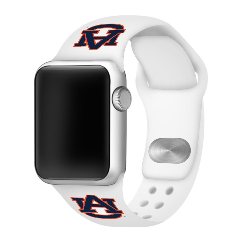 Auburn Apple Watch White Silicon Sport Band 38/40 Mm