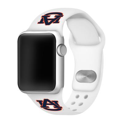 Auburn Apple Watch White Silicon Sport Band 42/44 MM
