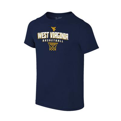 West Virginia Basketball with Net Logo Tee Shirt