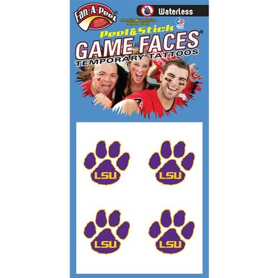 LSU/ Paw Face Decal 4-Pack