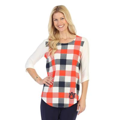 Auburn P. Michael Plaid 3/4 Sleeve Top