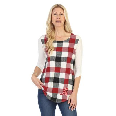 Alabama P. Michael Plaid 3/4 Sleeve Top