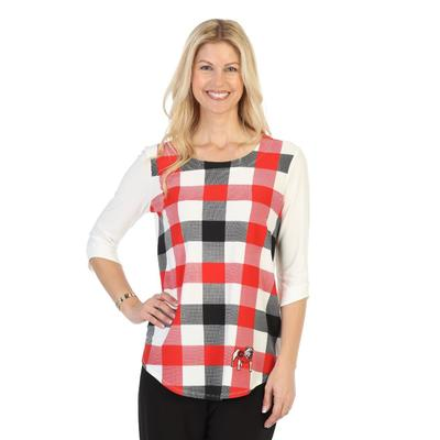 Georgia P. Michael Plaid 3/4 Sleeve Top