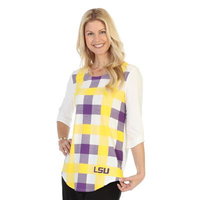 LSU P. Michael Plaid 3/4 Sleeve Top