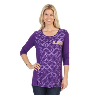 LSU P. Michael Geometric Print Pattern Top