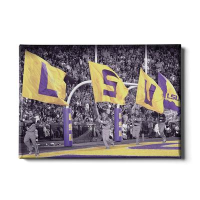 LSU 24x16 LSU Touchdown Flags Canvas