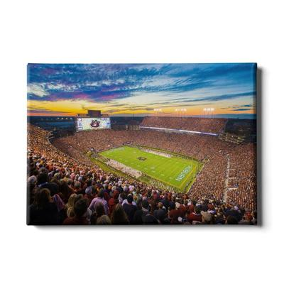 Auburn 24x16 Sunset Over Jordan-Hare Stadium Canvas