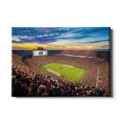 Auburn 24x16 Sunset Over Jordan-Hare Stadium Canvas
